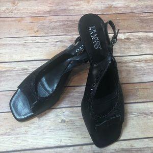 Franco Sarto Black Slingback Peep Toe Kitten Heels